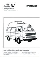 1987 VW T25 / T3 WestfaliaJoker Club Joker Technical Information Brochure