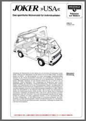 1983 VW T3 Westfalia Joker USA Sales Brochure