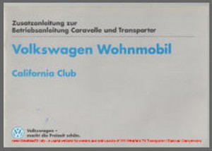 VW T4 Westfalia California Club Owners Manual