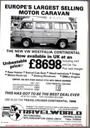 June 1982 Westfalia Continental Advert