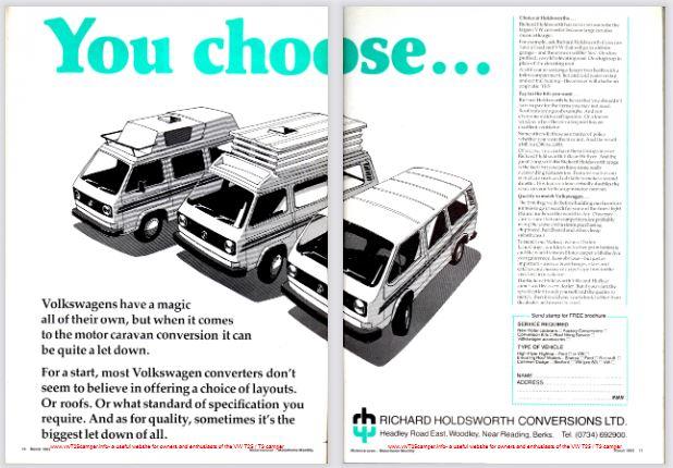 March 1983 VW T25 / T3 Holdsworth Camper Magazine Advert